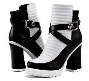 2014秋冬粗跟女靴子时尚马丁靴女 新款女鞋高跟呛口短靴彩云