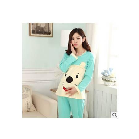 夏季可爱熊长袖月子服 纯棉喂奶服外出套装 大方准妈妈必备套装旭宏睡衣