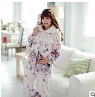 加厚法兰绒女士月子服产后孕妇哺乳长袖睡衣家居服冬天保暖套装旭宏睡衣