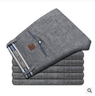 中腰薄款棉纺直筒裤直销 灰色成人裤春季新款男士休闲裤 龙仕顿包邮1222