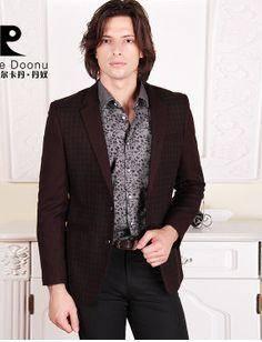 时尚百搭修身西装 休闲格子男士上衣春季新款男装龙仕顿包邮1225