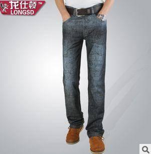 流行款式修身长款透气牛仔裤男士印花渐变色牛仔裤龙仕顿1225