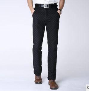 新款品牌男裤厚料修身微弹长裤时尚菱形格男式裤子龙仕顿包邮1229