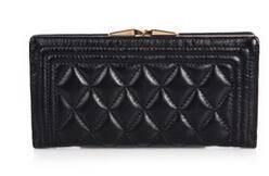 2015新款女包 格纹时尚女士钱包 羊皮钱包