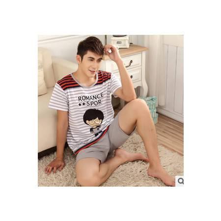 纯棉可爱熊短袖情侣睡衣夏休闲舒适短裤家居服两件套