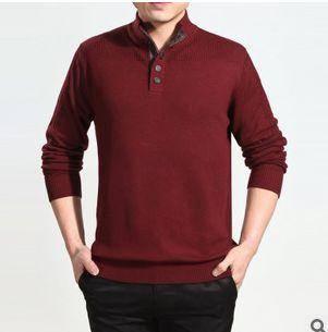 纯色立领单排扣拼接套头长袖针织衫英伦风男式针织衫永盛泰包邮0114