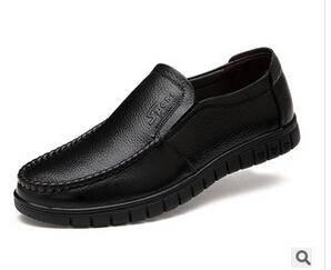 新款真皮商务男鞋正装鞋套脚潮流男士皮鞋爸爸鞋白象