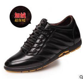 新款内增高男士真皮休闲皮鞋隐形增高韩版商务男皮鞋品牌男鞋白象