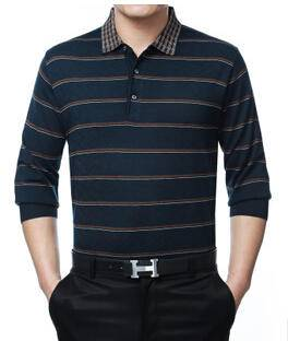时尚休闲条纹拼色翻领长袖套头男式T恤 春季新款薄款打底针织T恤永盛泰