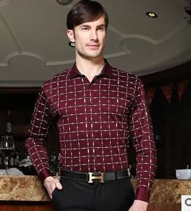 男士春装衬衫格子翻领男式衬衫 商务风长袖单排扣衬衫永盛泰