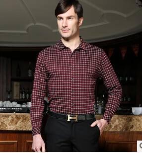 时尚英伦风新款衬衫 气质格子翻领长袖百搭春季爆款男式衬衫永盛泰