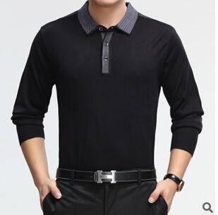 春款男装纯色打底衫男士长袖T恤 时尚休闲翻领薄t恤永盛泰