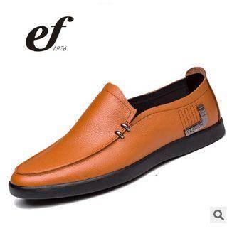 真皮商务正装男单鞋韩版日常休闲男皮鞋2015新款低帮男士休闲鞋白象包邮