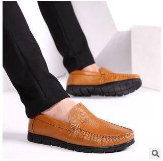 男潮鞋韩版休闲英伦男皮鞋新款男士真皮单鞋白象包邮