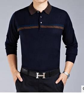 商务风新款毛衣 时尚气质拼色翻领长袖套头男式毛衣永盛泰