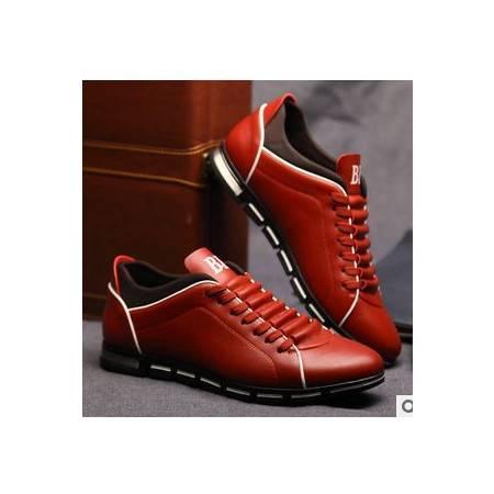 潮流时尚系带牛皮男士皮鞋春新款低帮真皮休闲鞋白象包邮