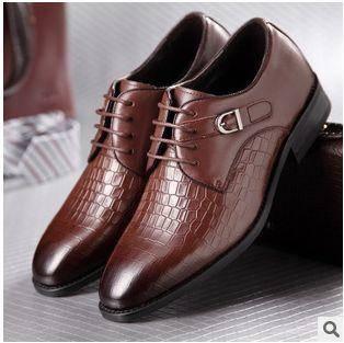 鳄鱼纹男皮鞋英伦商务正装男士潮皮鞋春季新款真皮男鞋白象包邮