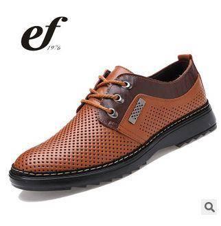 真皮夏季洞洞鞋凉鞋男凉皮鞋子2015男士商务透气皮鞋低帮男鞋白象