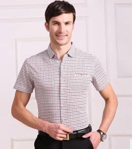 男士夏装衬衫 男式丝光棉短袖衬衣 中年商务品牌男装衬衫永盛泰