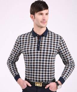 春季新款男士长袖T恤 男式格子纯棉t恤衫 商务男装永盛泰