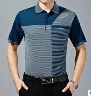 15新款中老年男式条纹商务桑蚕丝短袖T恤衫 男士针织短袖爸爸装永盛泰