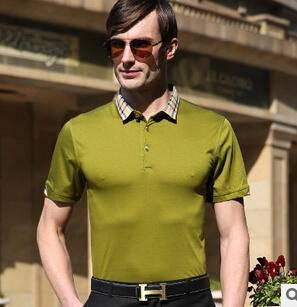 15夏季新款男式纯色双丝光棉免烫短袖T恤衫 男士商务高档T恤永盛泰