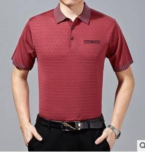 15夏装男式纯色短袖t恤衫中年男士商务桑蚕丝短袖T恤男装T恤永盛泰