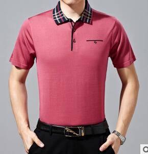 夏季新款中年男士短袖t恤 纯色翻领爸爸装桑蚕丝高档商务男式短袖永盛泰