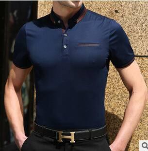 15夏季新款男式纯色免烫商务短袖T恤衫男士丝光棉精品T恤永盛泰
