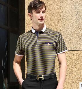 新款男式时尚彩色条纹丝光棉短袖T恤衫男士精品商务免烫T恤衫永盛泰