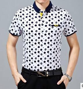 15新款夏季男式圆点休闲免烫短袖T恤 男士高档丝光棉短袖T恤永盛泰