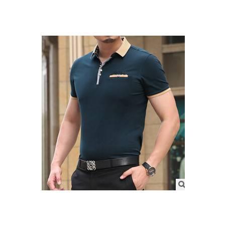 夏季新款男式商务短袖t恤衫时尚男士翻领双丝光棉高档短袖T恤永盛泰