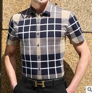 新款丝光棉免烫修身翻领休闲男士衬衫 格子短袖男式衬衣男装 永盛泰