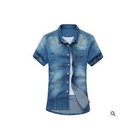 韩版时尚牛仔衬衫男装外套春装新款男式牛仔短袖衬衫