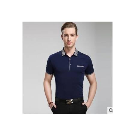 男式翻领纯色纯棉T恤衫 爆款休闲男士体恤夏季男装短袖T恤 祥盛
