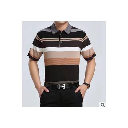 中年商务夏季男装新款男式短袖T恤 翻领条纹针织桑蚕丝T恤衫祥盛