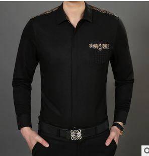 男式翻领长袖衬衣 纯色棉衬衫春秋薄款衬衫 祥盛包邮