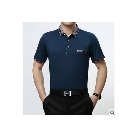 翻领纯色棉T恤衫男式半袖短t 时尚夏装新款男士短袖T恤祥盛