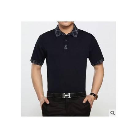 夏装翻领商务纯色桑蚕丝T恤衫 半袖男装新款男士短袖T恤祥盛