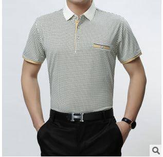 翻领印花格子丝光棉T恤衫 高档青年男t短袖新款男式短袖T恤 祥盛