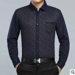 翻领印花薄款衬衣 真口袋商务男装新款春秋男式长袖衬衫 祥盛