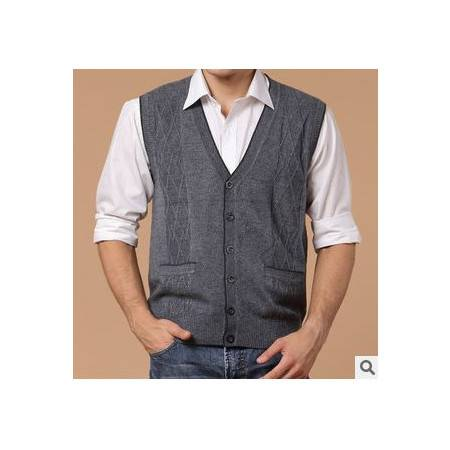 中年商务纯色羊毛羊绒针织马甲 男式背心新款春秋装男士马甲祥盛