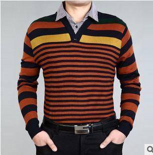 衬衫领条纹羊毛针织T恤衫 假两件套春秋薄款新款男式长袖T恤 祥盛