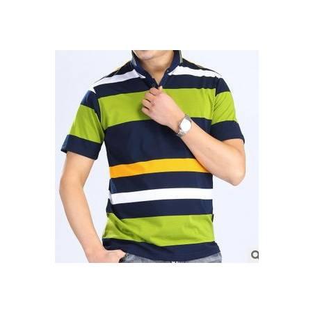 翻领条纹纯棉T恤衫 宽松型男式体恤新款男式夏装短袖T恤 祥盛