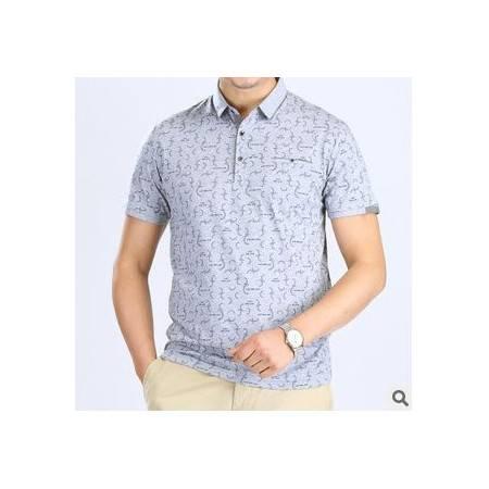 翻领纯棉印花T恤衫 男式夏季体恤新款男式短袖T恤祥盛