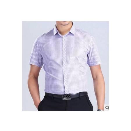 翻领格子纯棉衬衣 时尚青年夏季男装新款男士短袖衬衫祥盛