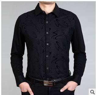 春秋薄款印花衬衣 商务高档男装外套新款男士长袖衬衫 祥盛包邮