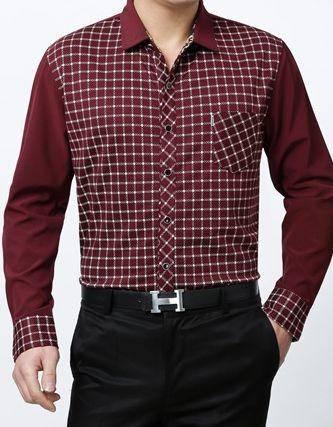 春秋薄款格子衬衣 时尚商务男装新款男式长袖衬衫祥盛
