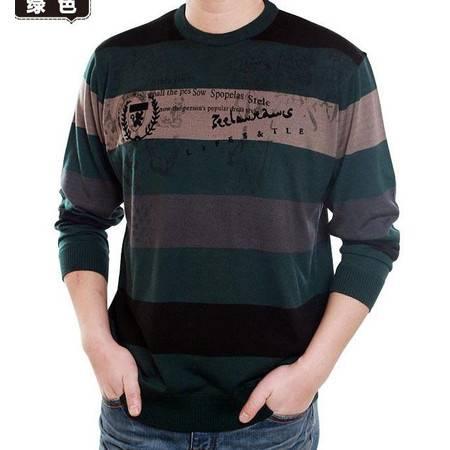 圆领宽条纹针织T恤男式薄款春季印花体恤春秋男士长袖T恤祥盛