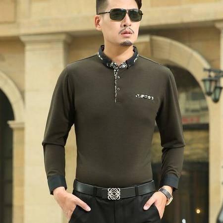 时尚立领纯色棉T恤衫 春秋薄款男装新款男式长袖T恤 祥盛